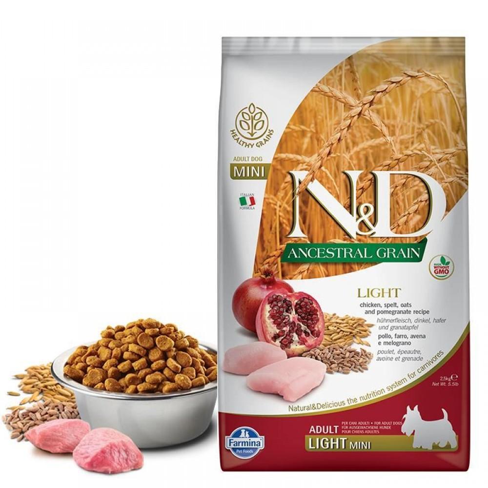 N&D Light Tavuklu ve Narlı Düşük Tahıllı Küçük Irk Yetişkin Köpek Maması 2,5kg